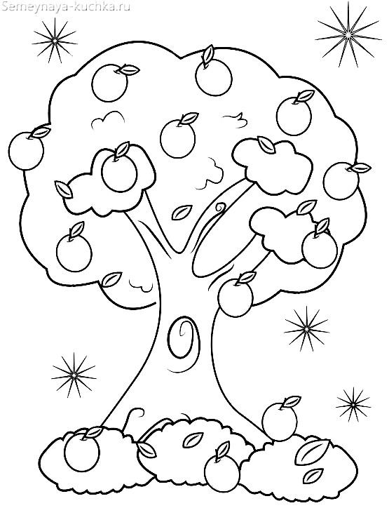 раскраска дерево с яблоками