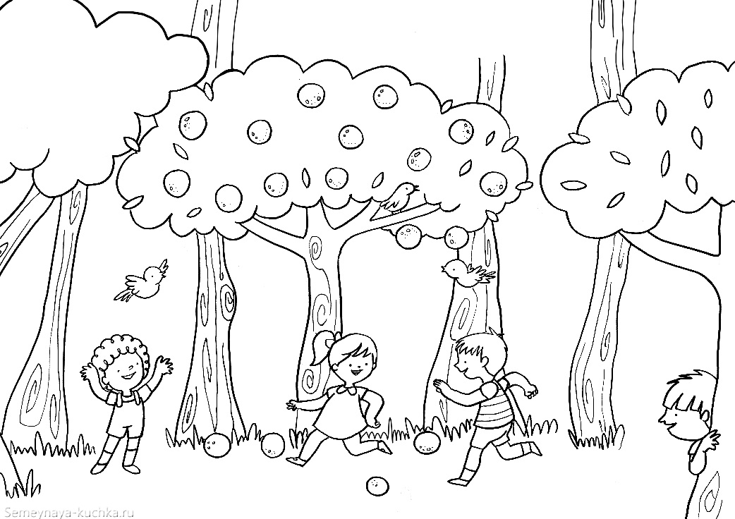 раскраска дети в осеннем саду деревья с яблоками