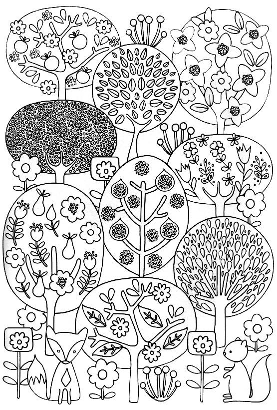 раскраска красивые деревья