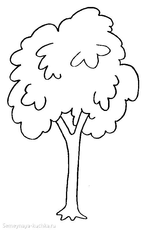 раскраска простое дерево шаблон