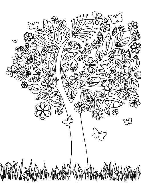 раскраска цветущее дерево