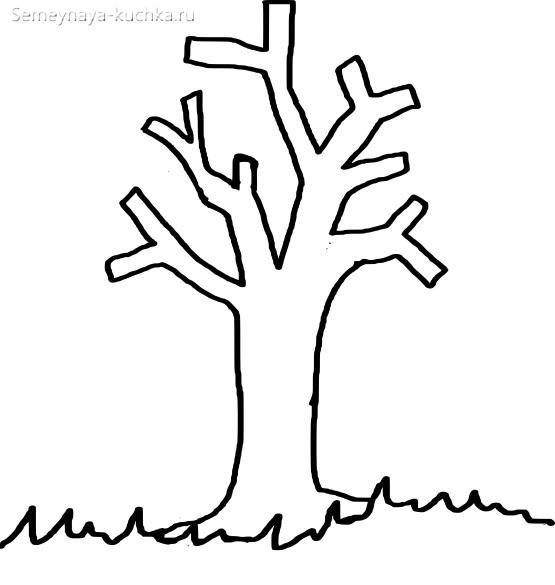 раскраска шаблон ствол дерева