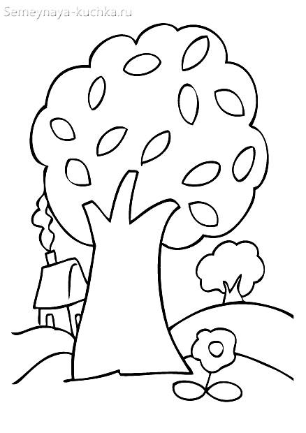 раскраска для малышей осеннее дерево