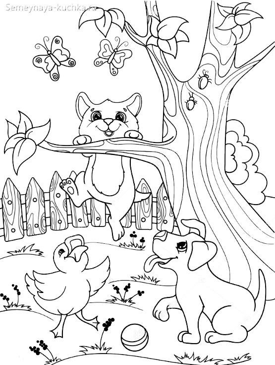 раскраска животные на дереве