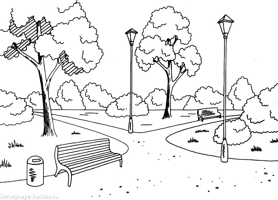 раскраска парк с деревьями дорожки фонарь