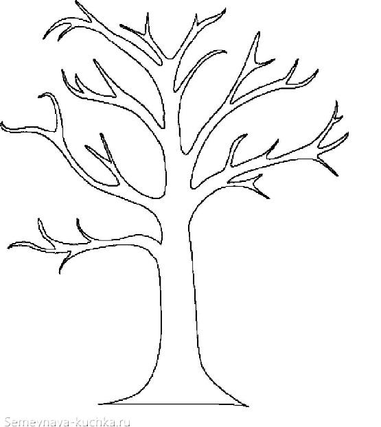 раскраска шаблон дерево