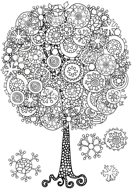 раскраска антистресс зимнее дерево