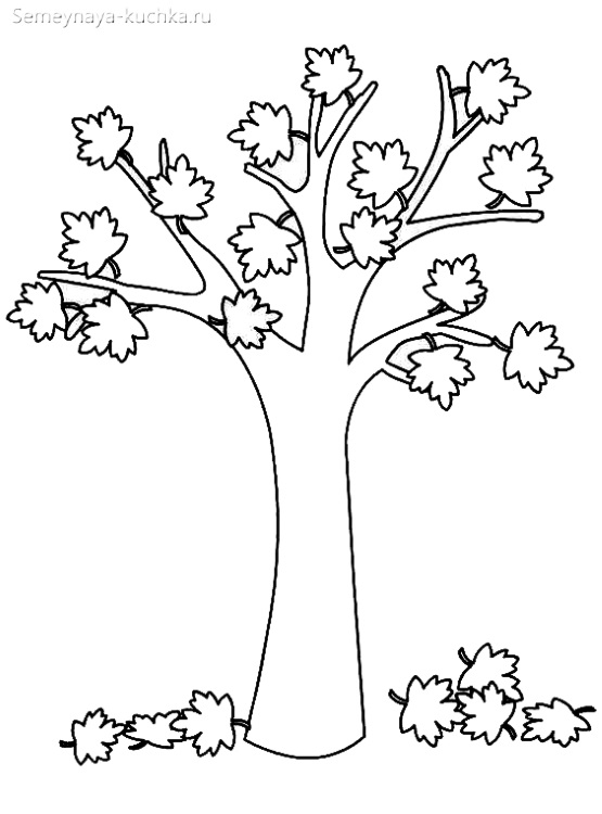 раскраска красивое осеннее дерево шаблон