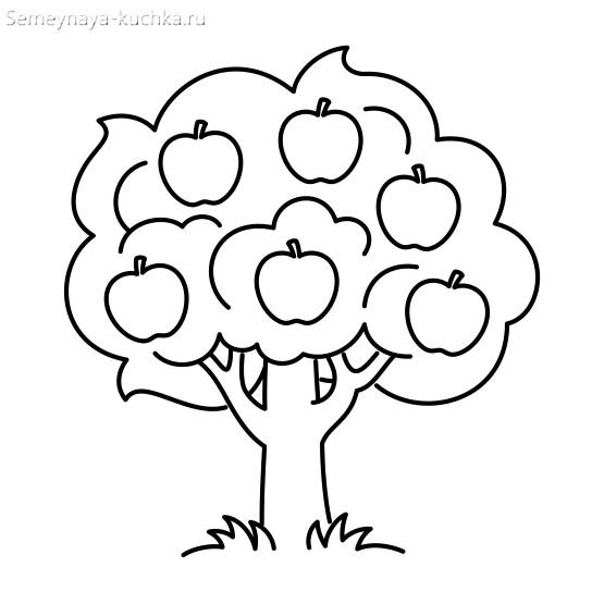 раскраска для малышей яблоня
