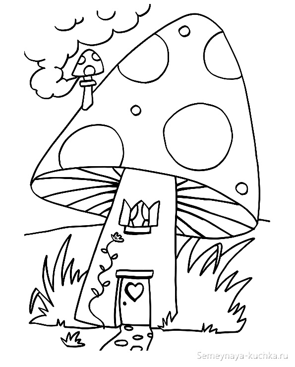 раскраска домик из мухомора