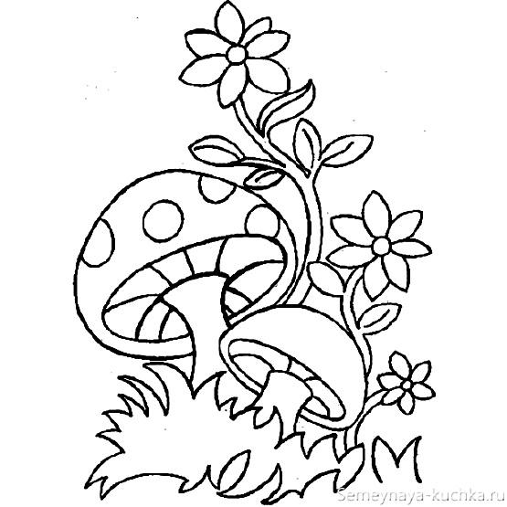 раскраска грибы мухоморы