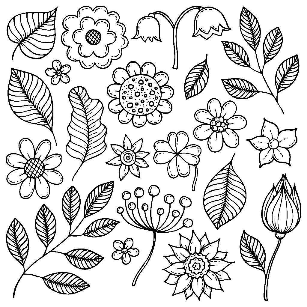 раскраска листья осенние