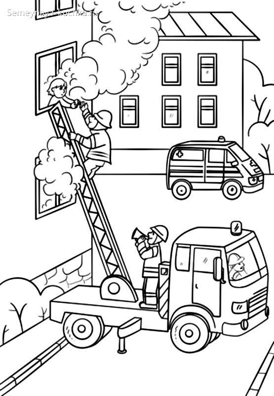 раскраска пожарный подъемник пожар на верхнем этаже