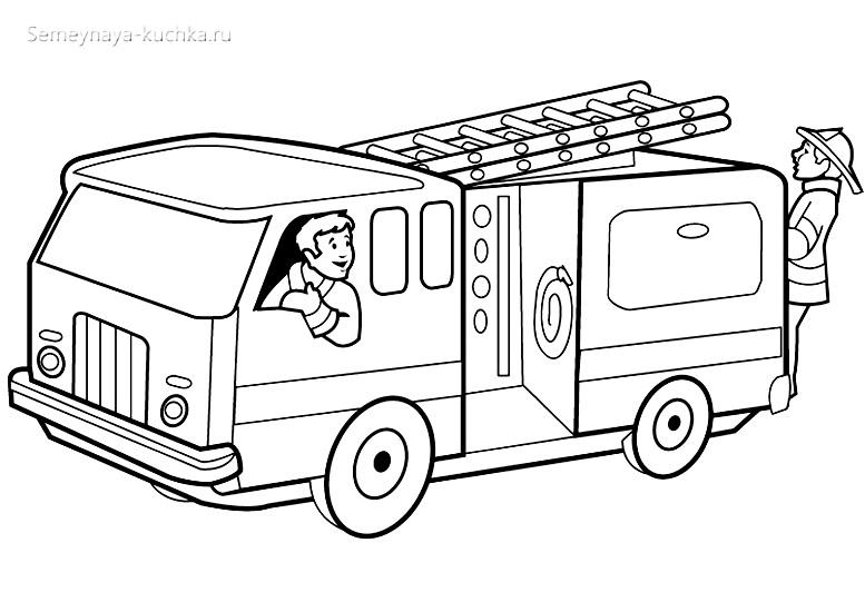 раскраска пожарный в машине