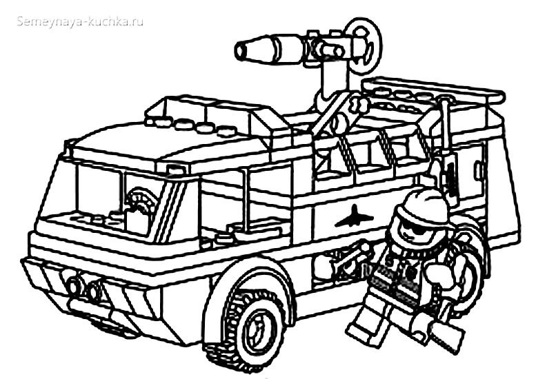 пожарная машина лего раскраска