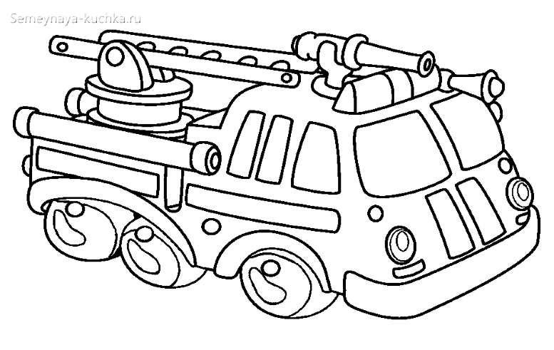 детская раскраска пожарная машина