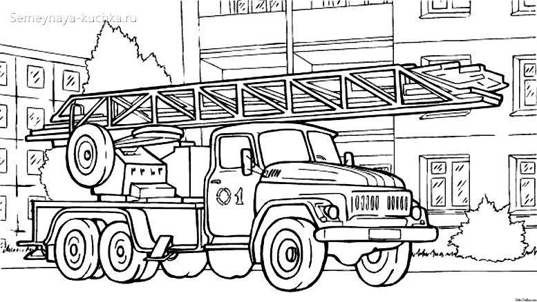 раскраска пожарная машина большая русская