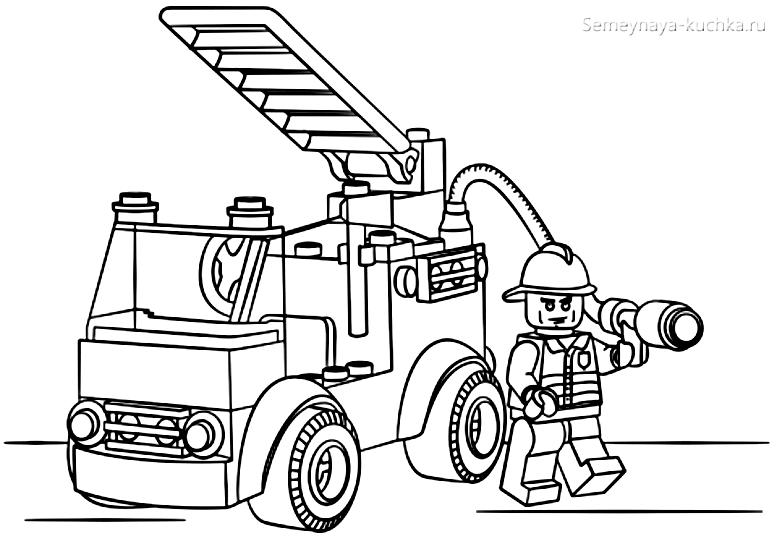 раскраска лего пожарная машина