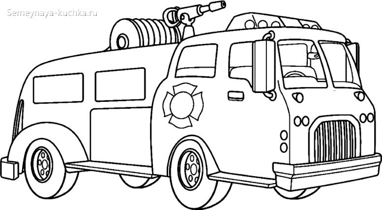 раскраска пожарный водовоз машина
