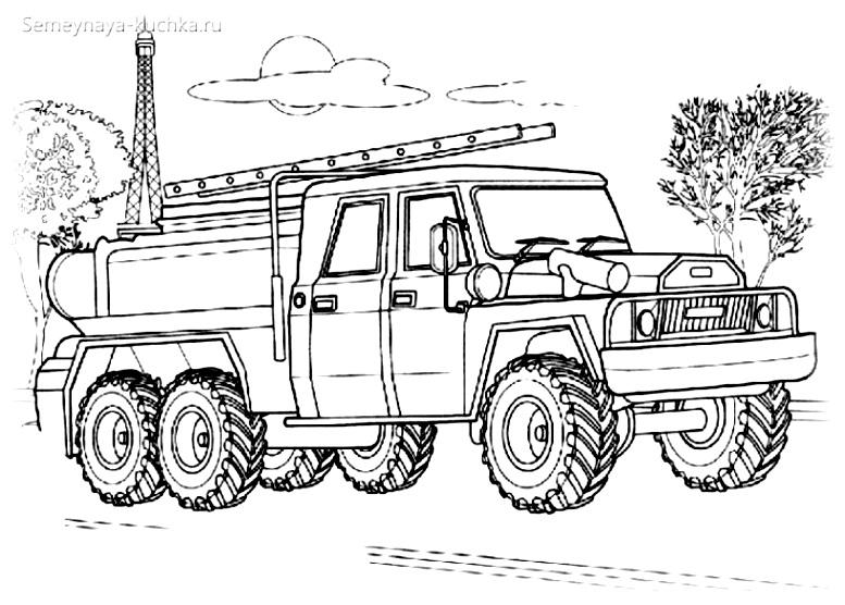 раскраска пожарный транспорт для тушения леса