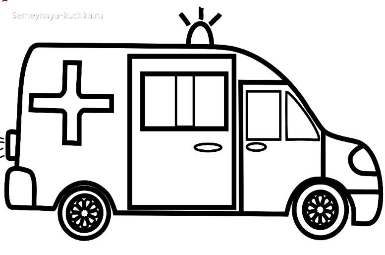 раскраска для малышей скорая помощь машина