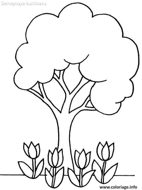 шаблон дерево весной