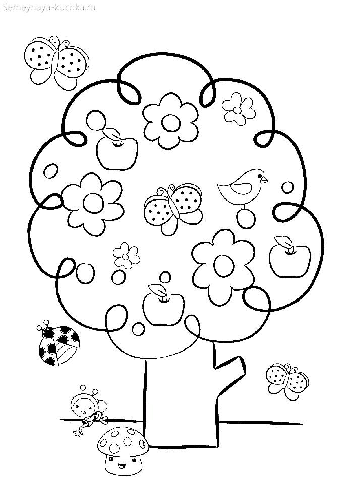 раскраска весеннее дерево