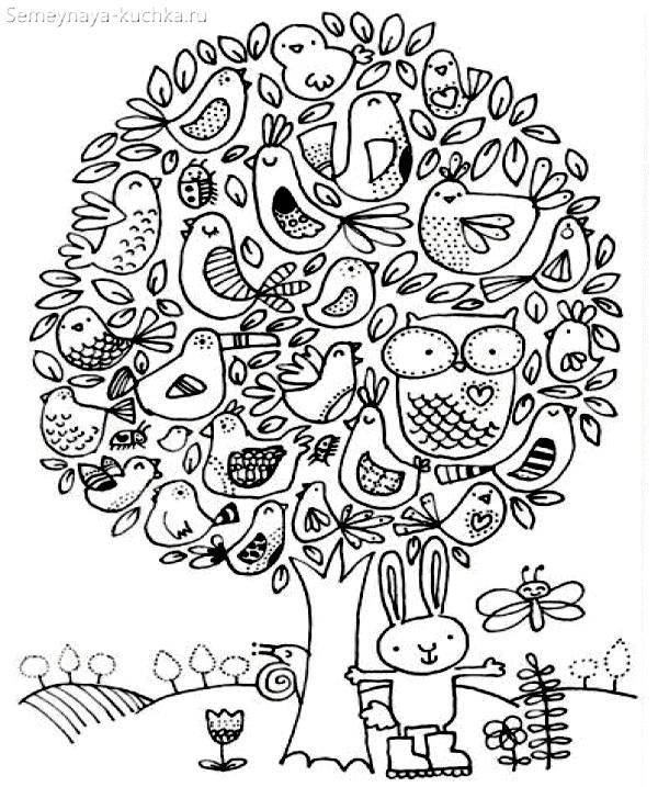 весеннее дерево с птицами раскраска