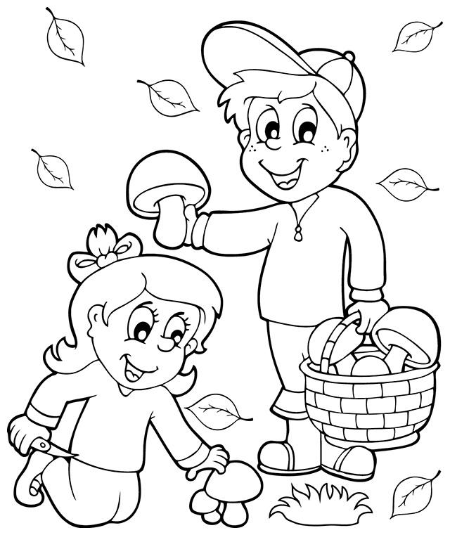 раскраска осень грибы
