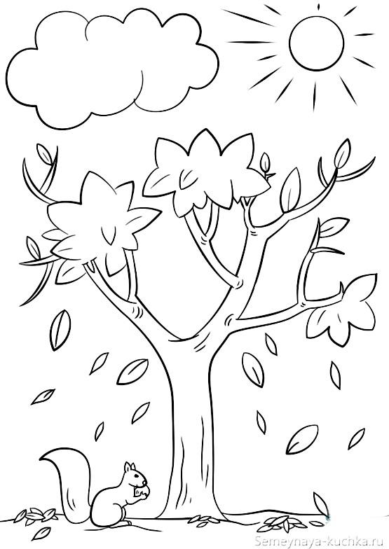 раскраска шаблон осеннее дерево