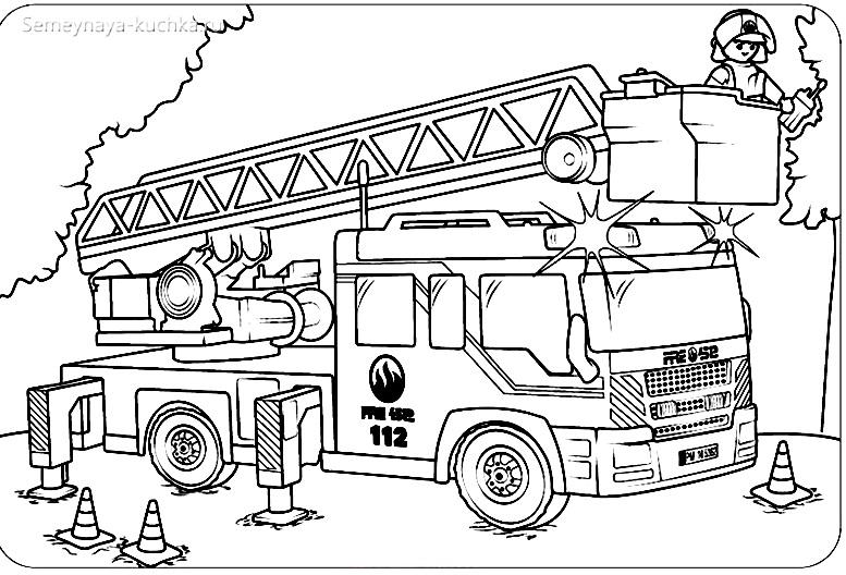 машина пожарная раскраска