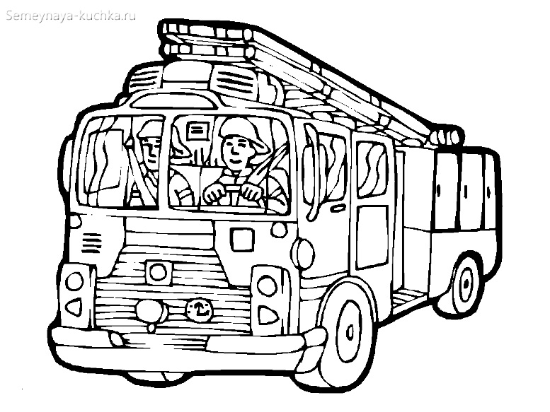 пожарники едут в машине картина