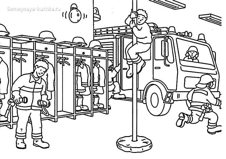 раскраска пожарные спешат на вызов пожарное депо