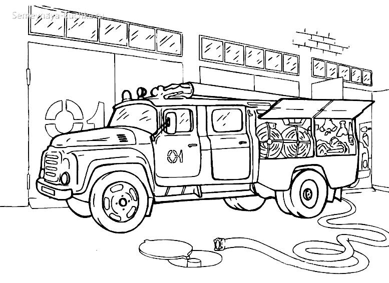 картинка раскраска пожарная машина