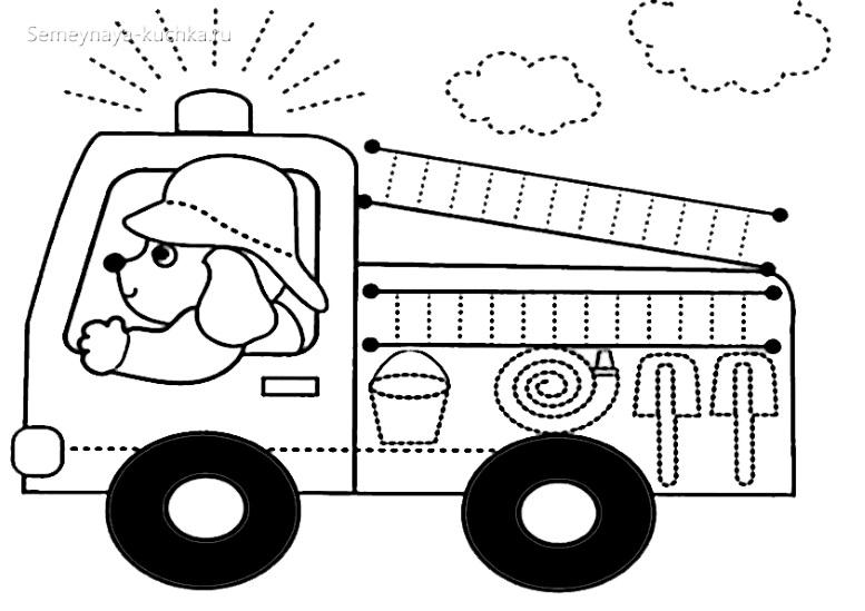 раскраска детская пожарная машина