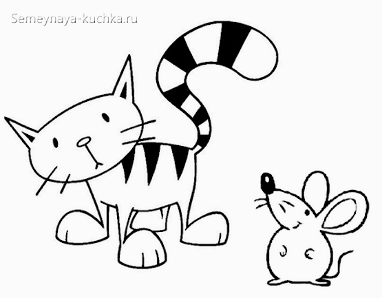 рисунок мышь и кот простой для срисовки