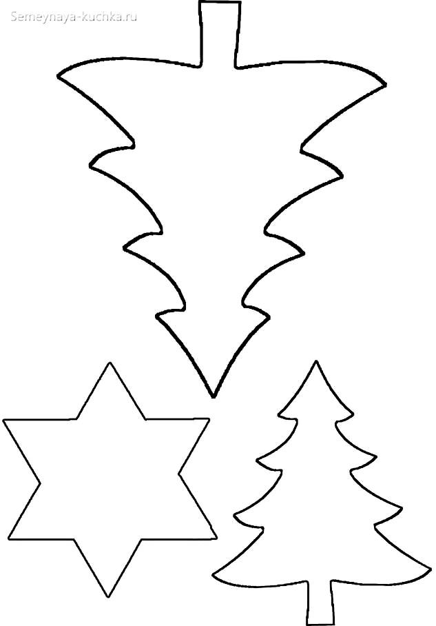 шаблон елка и звезды