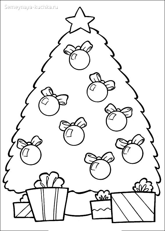 шаблон елки с шарами и подарками