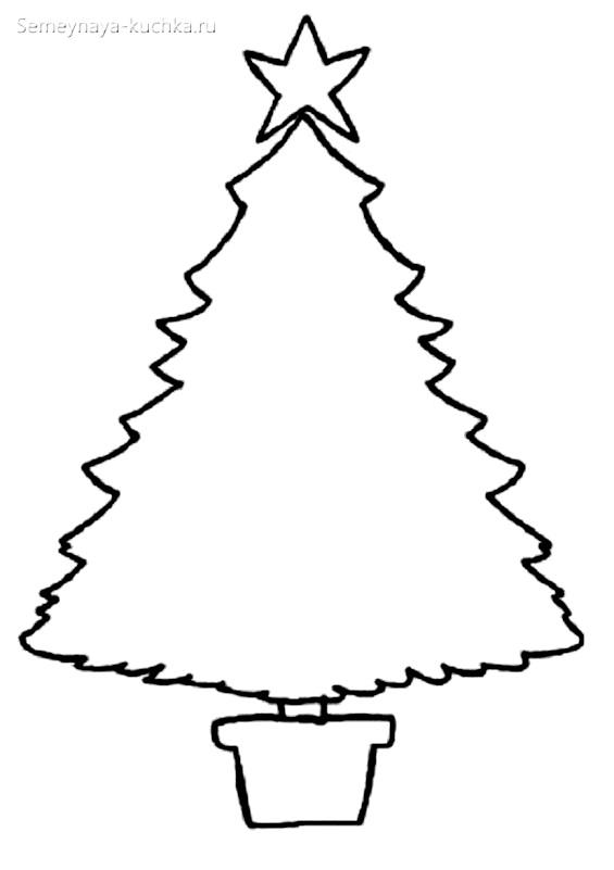 простой пушистый шаблон елки