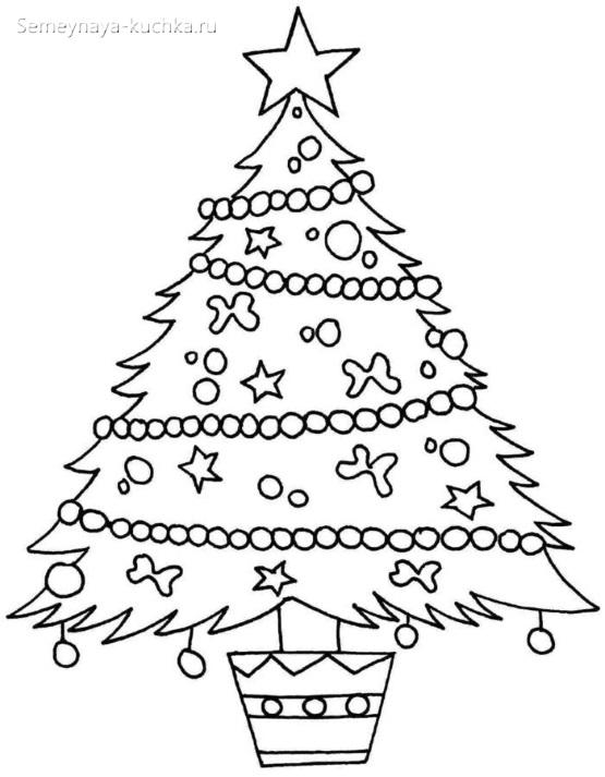 шаблон елка с бусами и гирляндой