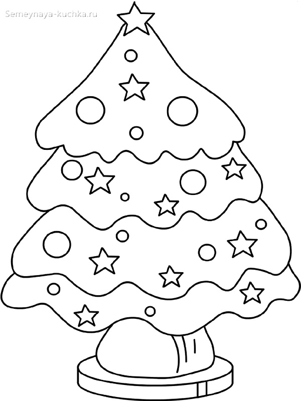 шаблон елки со звездами