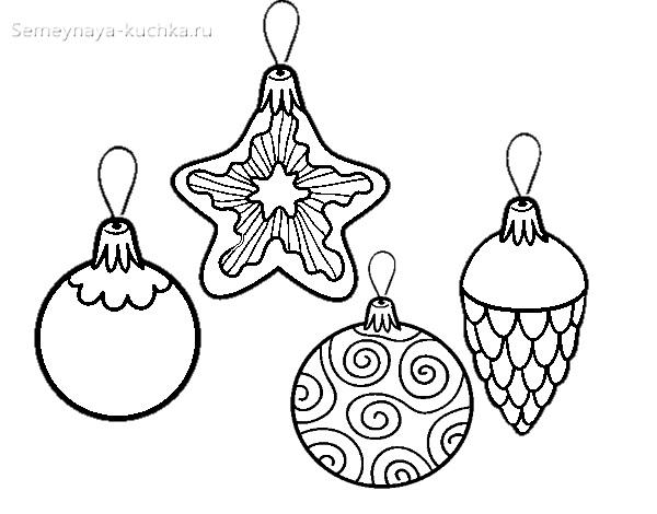 шаблон с шарами на елку
