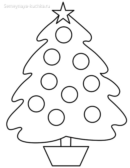 шаблон елка с шарами