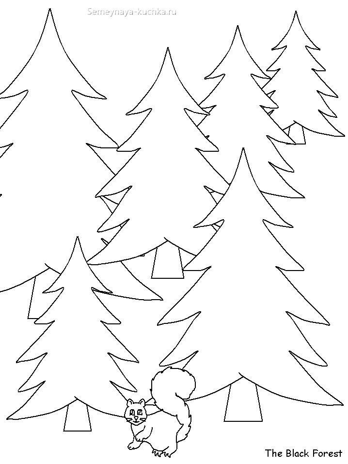 шаблон лес из елок