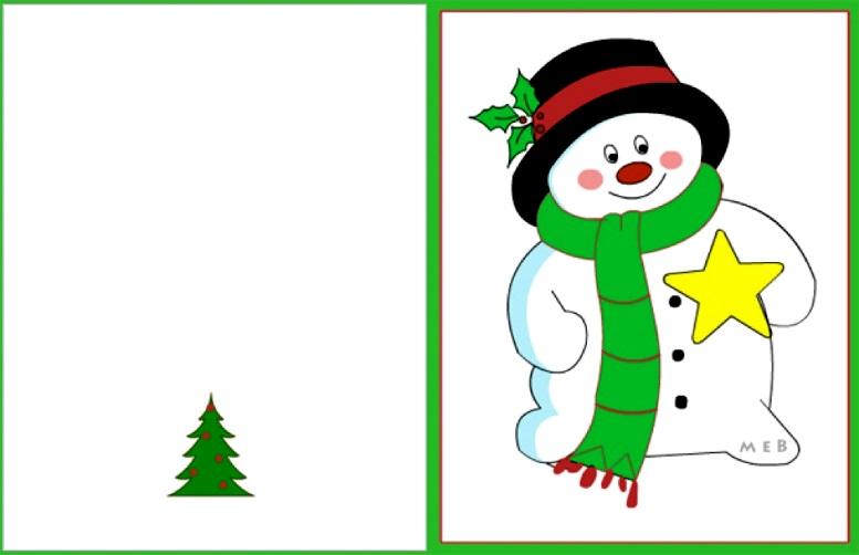 шаблон снеговик для открытки