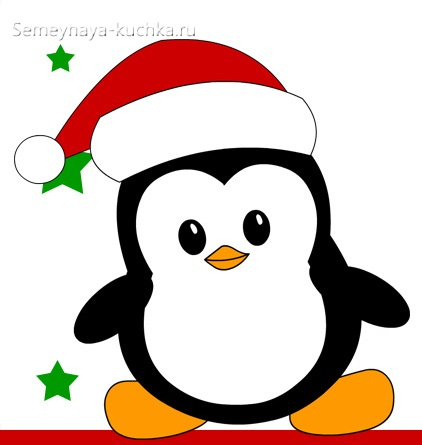шаблон новогодний пингвин