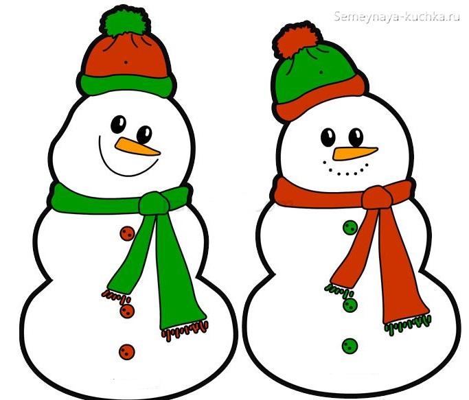 шаблон веселые снеговики