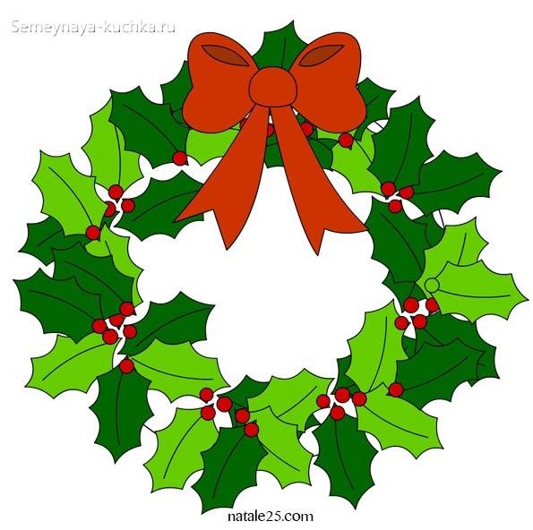 шаблон новогодний венок из листьев остролиста