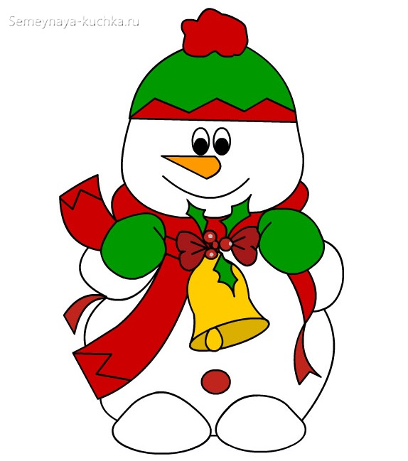 шаблон снеговик с колокольчиком