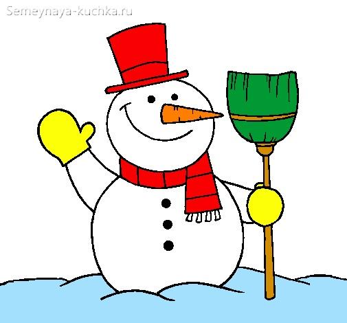 шаблон снеговик с метлой